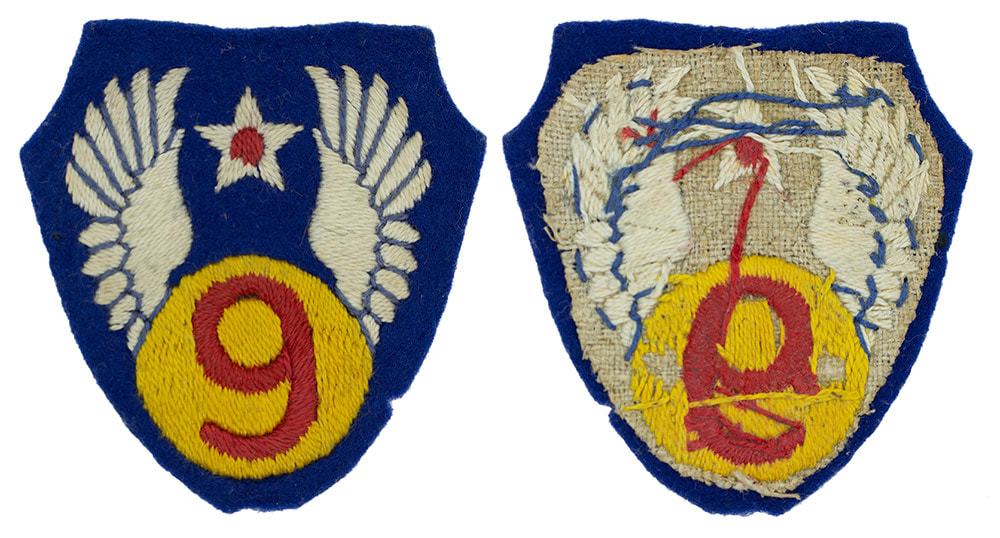 English made WWII ​U.S. Ninth Air Force (9 AF) Felt Sleeve Insignia Patch