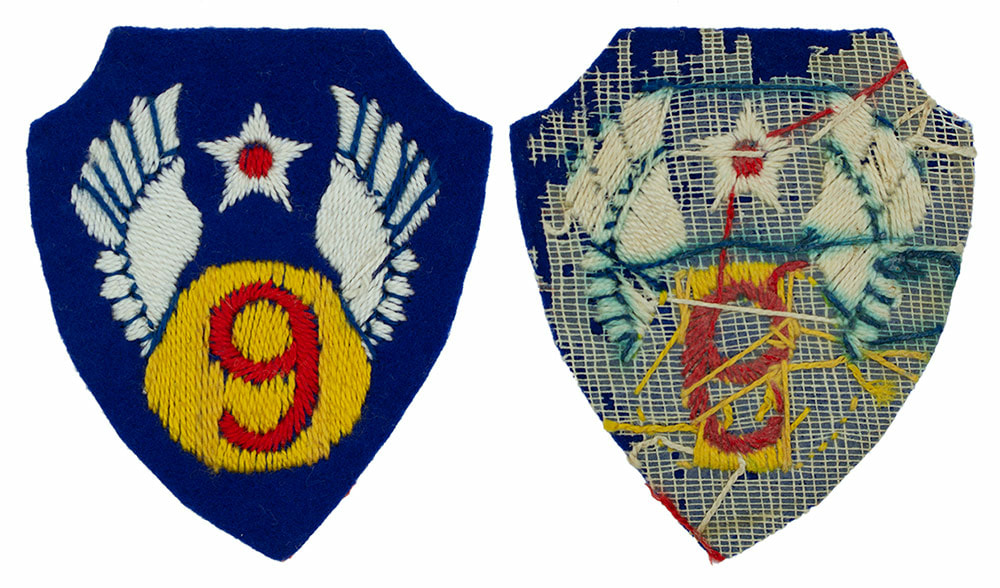 English made WWII U.S. Ninth Air Force (9 AF) Felt Sleeve Insignia Patch