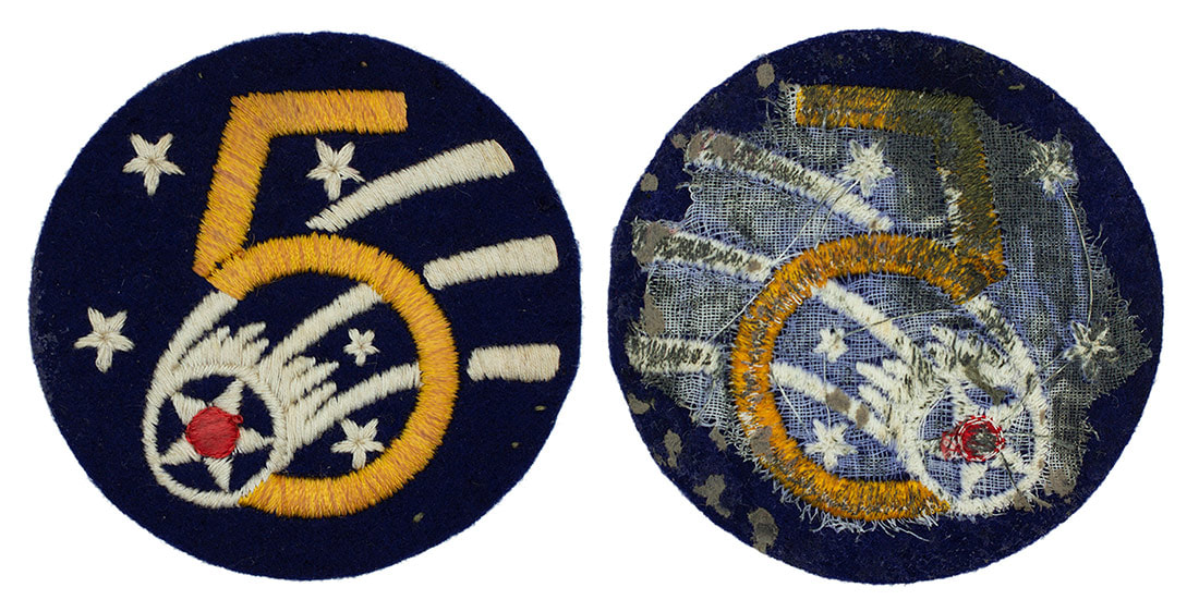 Australian made WWII U.S. Fifth Air Force (5 AF) Wool Sleeve Insignia Patch