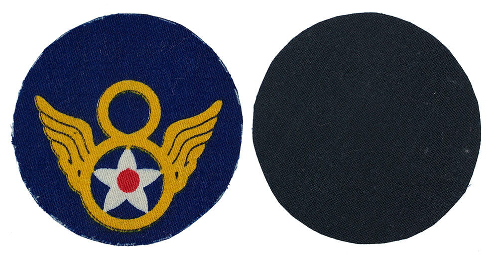 English Made WWII U.S. Eighth Air Force (8 AF) 'Stubby wing' Printed Sleeve Insignia Patch