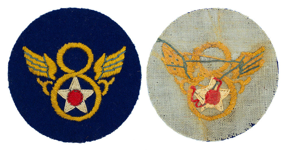 English Made WWII U.S. Eighth Air Force (8 AF) 'Stubby wing' Wool Sleeve Insignia Patch