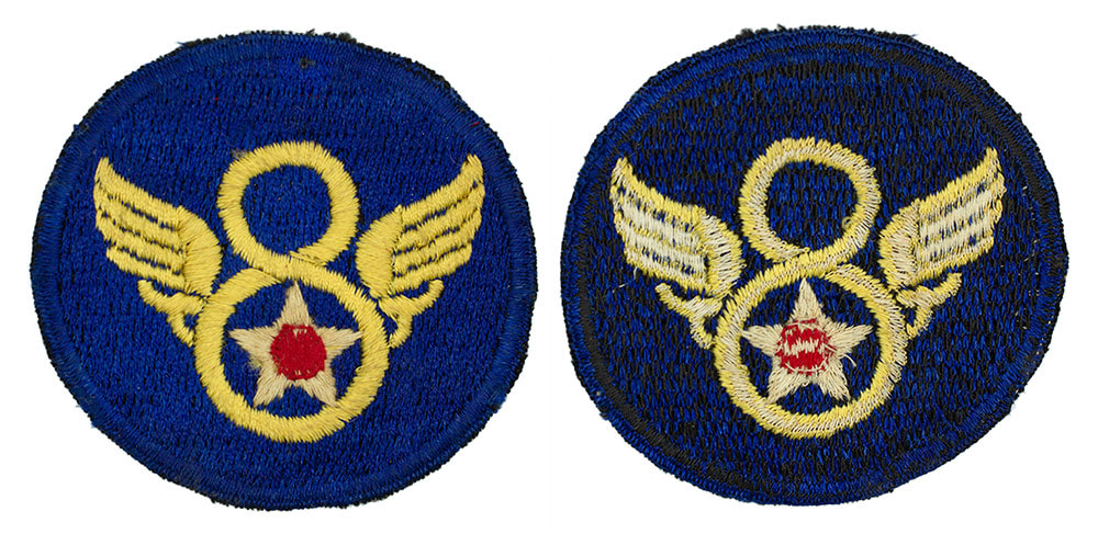 English Made WWII U.S. Eighth Air Force (8 AF) 'Stubby wing' Silk Sleeve Insignia Patch