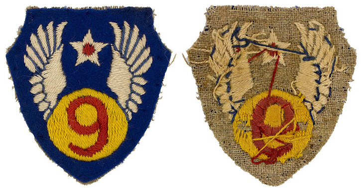 English made WWII U.S. Ninth Air Force (9 AF) Wool Sleeve Insignia Patch