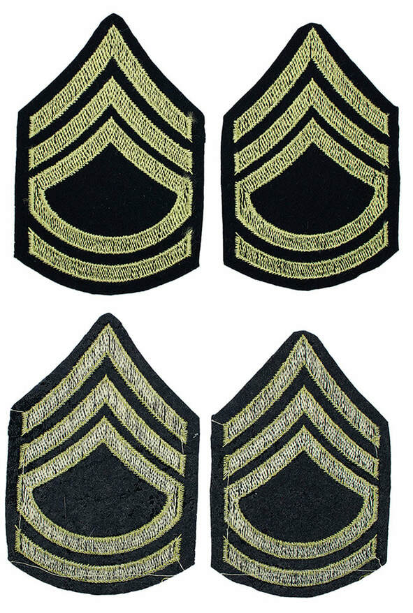English made WWII U.S. Army Technical Sergeant T/Sgt. Rank Chevron Insignia Stripes