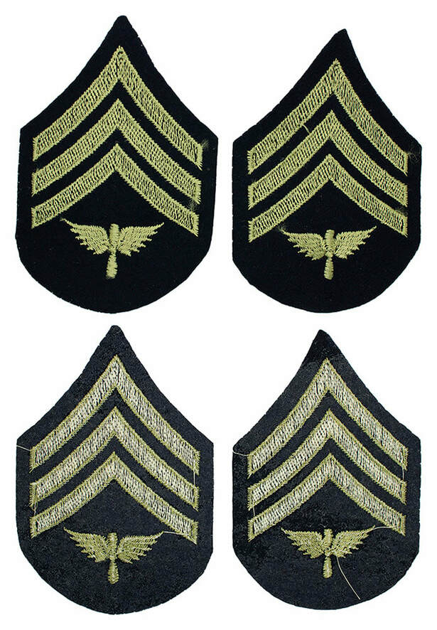 English made WWII U.S. Army Air Corps Aviation Sergeant Rank Chevron Insignia Stripes