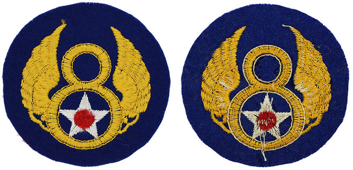 English made WWII U.S. Eighth Air Force (8 AF) Felt Sleeve Insignia Patch  D-Day style